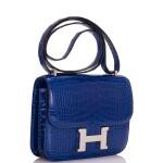 Hermès Bleu Electrique Mini Constance 18cm of Shiny Mississippiensis Alligator with Palladium Hardware