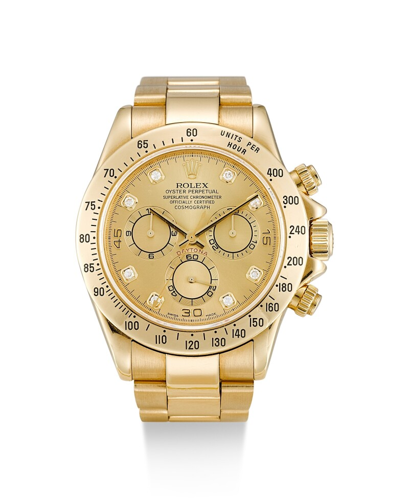 Cosmograph Daytona, Reference 116528  A Yellow Gold And Diamond-Set Chronograph Wristwatch With Bracelet, Circa 2000