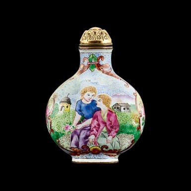 View 1. Thumbnail of Lot 1012. A Canton enamel 'European subject' snuff bottle Mark and period of Qianlong   清乾隆 銅胎廣東畫琺瑯西洋人物圖鼻煙壺 《乾隆年製》款.