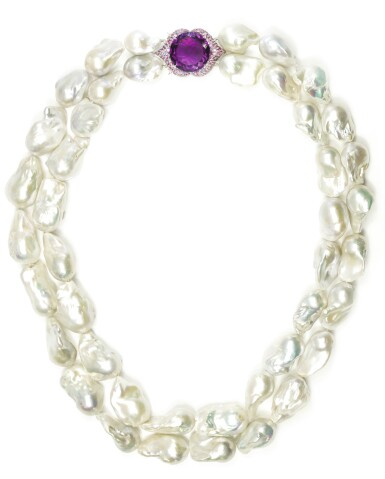 Cultured pearl, amethyst and coloured sapphire necklace