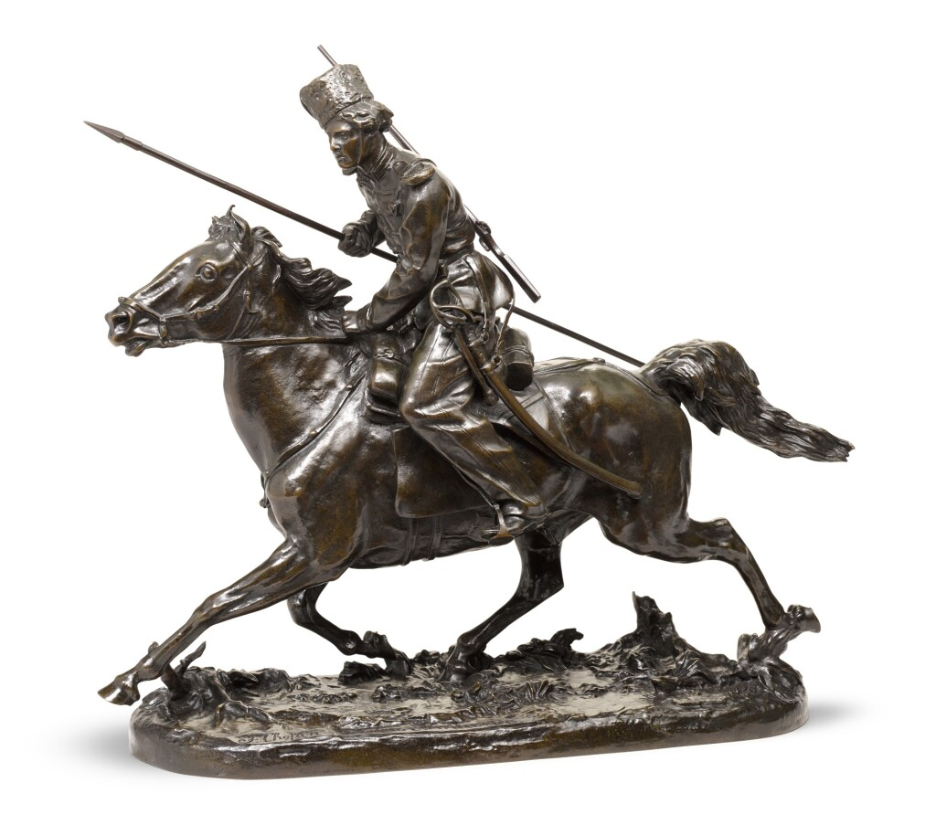 CHARGING COSSACK: A BRONZE FIGURAL GROUP, CAST BY CHOPIN AFTER THE MODEL BY EVGENI LANCERAY (1848-1886)