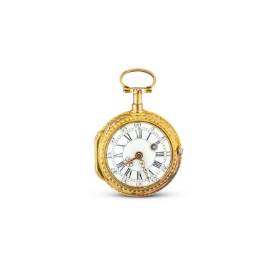 View 2. Thumbnail of Lot 4013. FRÈRES MELLY | A SMALL VARI-COLOUR GOLD OPENFACE KEYWOUND QUARTER REPEATING VERGE WATCH WITH ENAMEL DIAL, CIRCA 1820.