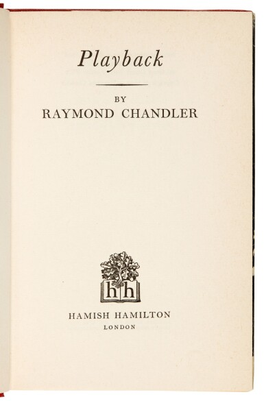 View 5. Thumbnail of Lot 98. [FLEMING'S LIBRARY]--CHANDLER   Playback, 1958, presentation copy.