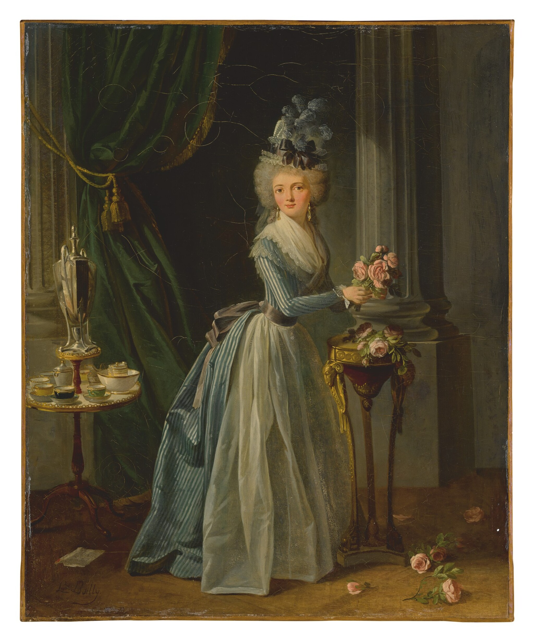 """View full screen - View 1 of Lot 609.  ATTRIBUTED TO JEAN-SIMON FOURNIER   """"LA DAME AUX ROSES""""."""