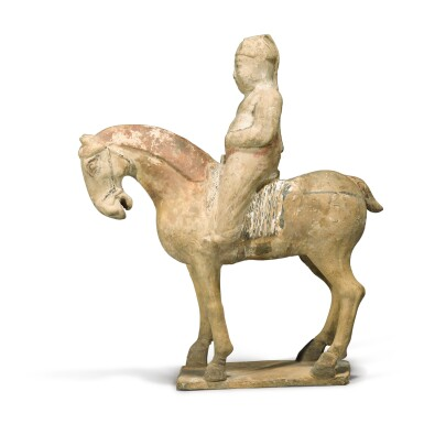 View 3. Thumbnail of Lot 107. A painted pottery equestrian figure, Tang dynasty.