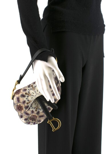 View 9. Thumbnail of Lot 21. DIOR   HANDPAINTED AND BEADED MINI SADDLE BAG FROM THE KALEIDIORSCOPIC COLLECTION IN CALFSKIN WITH GOLD TONE HARDWARE, 2019.
