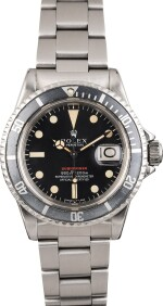 """ROLEX   Submariner, Ref. 1680, A Stainless Steel Wristwatch with MK4 """"Red Submariner"""" Dial and Bracelet, Circa 1972"""