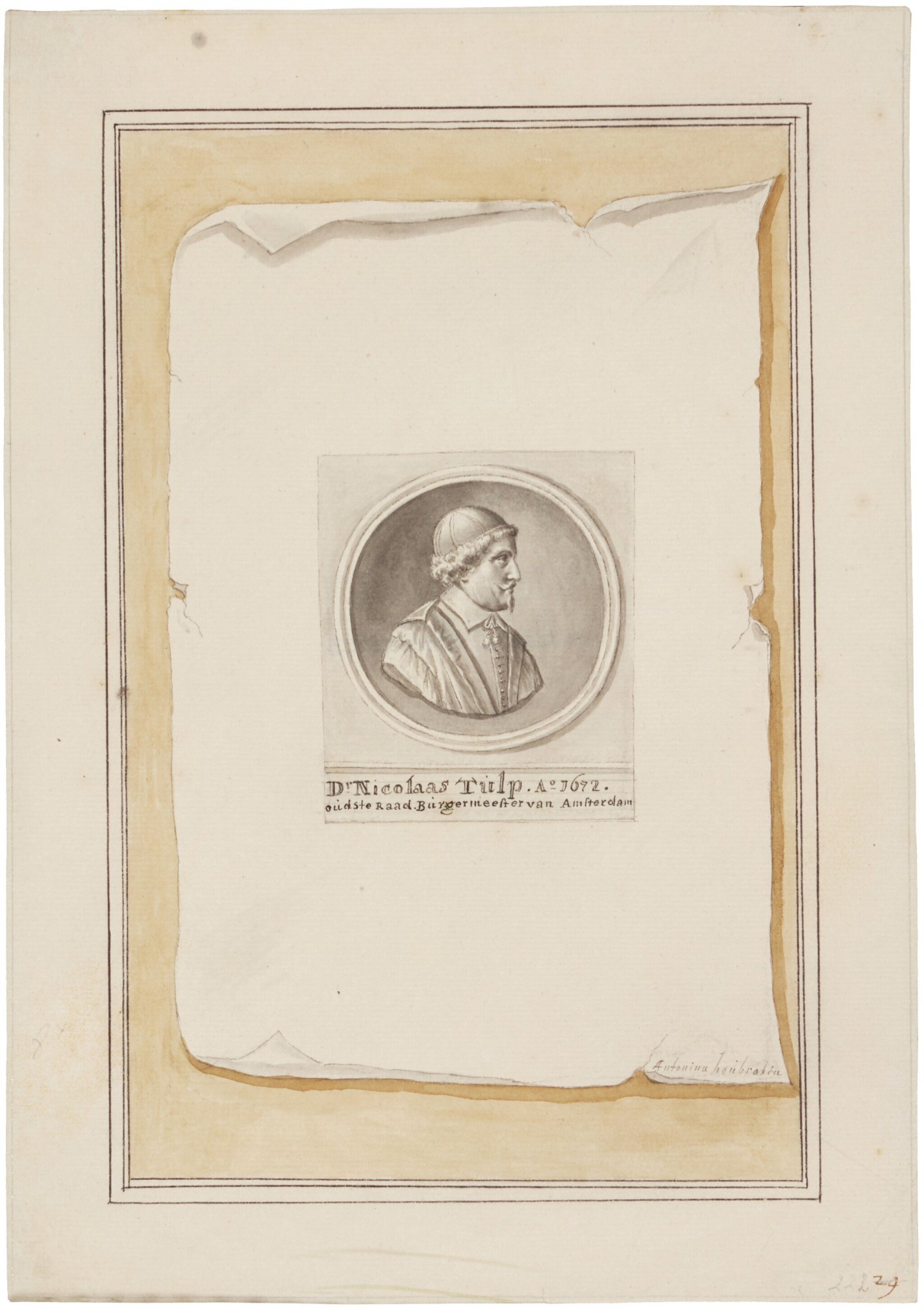 View 1 of Lot 54. Trompe l'oeil with silver medal celebrating Dr. Nicolaes Tulp's fourth term as mayor of Amsterdam.