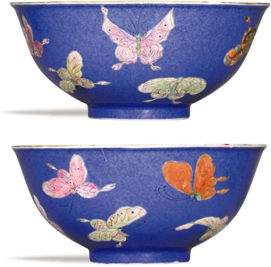 View 1. Thumbnail of Lot 338. A PAIR OF POWDER-BLUE GROUND FAMILLE-ROSE 'BUTTERFLY' BOWLS JIAQING SEAL MARKS AND PERIOD   清嘉慶 藍地粉彩百蝶紋盌一對 《大清嘉慶年製》款.