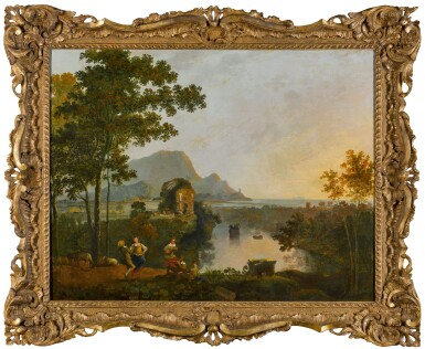 View 2. Thumbnail of Lot 200. A coastal landscape with figures dancing at the mouth of a river.