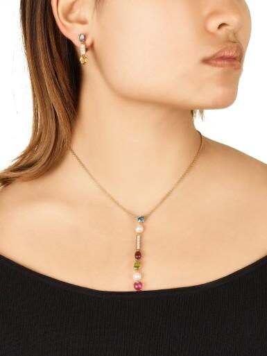 View 4. Thumbnail of Lot 1630. 'Allegra' Gem Set and Diamond Demi-Parure | 寶格麗| 'Allegra' 寶石  配 鑽石 項鏈及耳環套装.