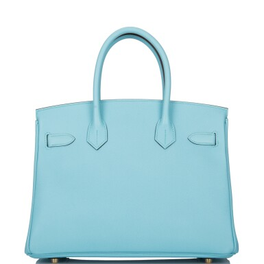 View 4. Thumbnail of Lot 18. Hermès Bleu Atoll Birkin 30cm of Epsom Leather with Gold Hardware .