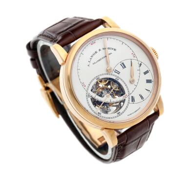 View 2. Thumbnail of Lot 295. Reference 760.032F Richard Lange Tourbillon pour le Mérite  A pink gold tourbillon wristwatch with chain and fusée and regulator dial, Circa 2014.