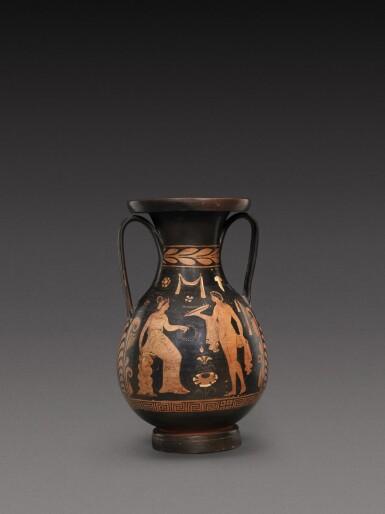 View 1. Thumbnail of Lot 56. An Apulian Red-figured Pelike, circa 350-330 B.C..