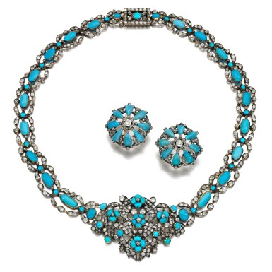 View 2. Thumbnail of Lot 78. Turquoise and diamond demi-parure, 1840s and later.