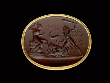 View 1. Thumbnail of Lot 72. ITALIAN, EARLY 19TH CENTURY   INTAGLIO WITH HERCULES RESCUING HESIONE FROM THE MONSTER.