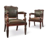 A SET OF FOUR REGENCY SOLID AND GRAINED ROSEWOOD OPEN ARMCHAIRS, CIRCA 1825
