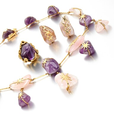 View 2. Thumbnail of Lot 167. Amethyst and rose quartz demi-parure and an amethyst ring.