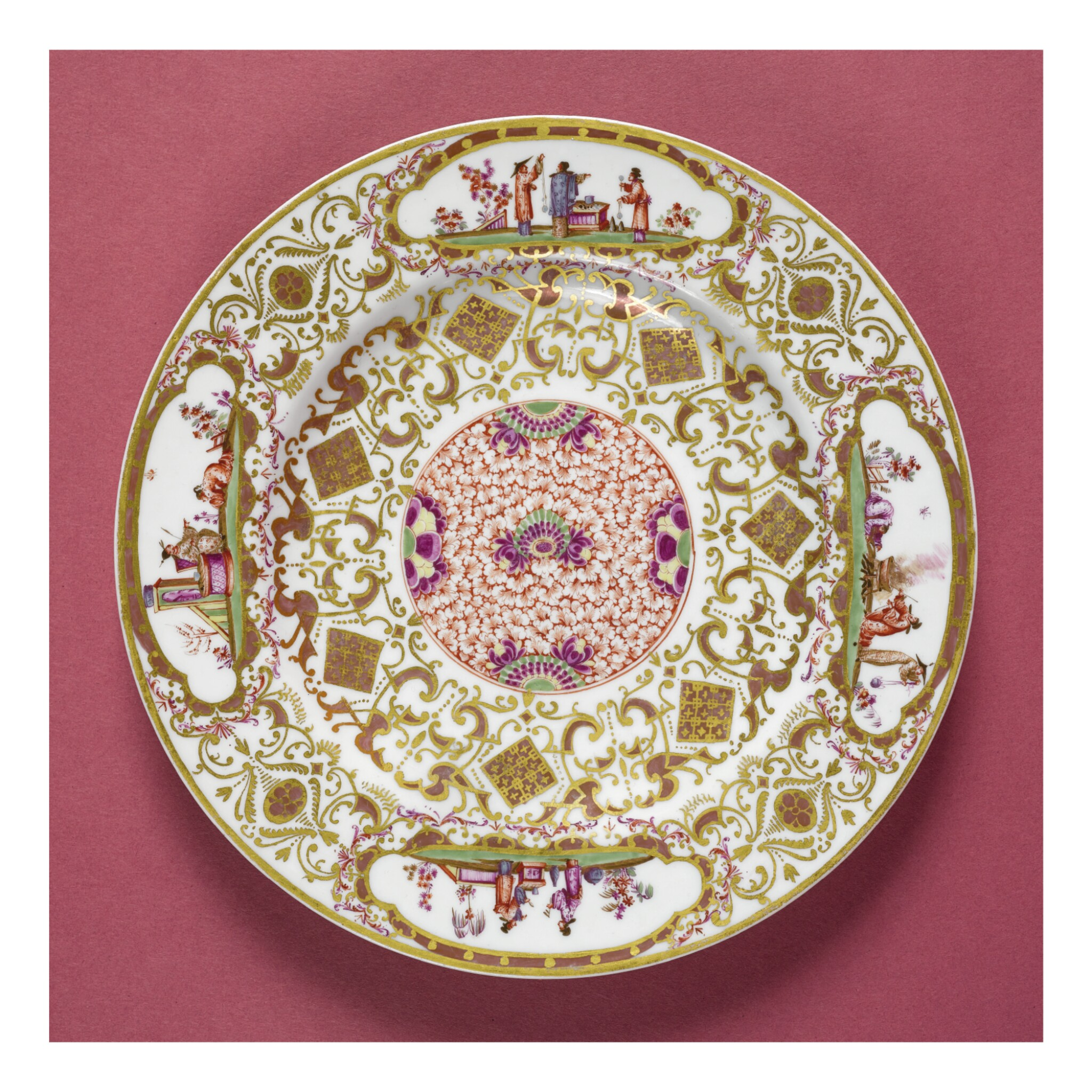 View full screen - View 1 of Lot 182. A MEISSEN CHINOISERIE CIRCULAR STAND OR PLATE CIRCA 1728.