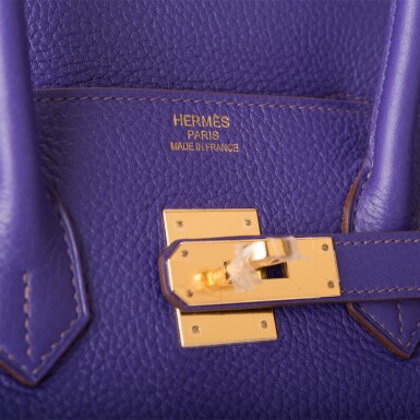 View 7. Thumbnail of Lot 19. Hermès Iris Birkin 35cm of Togo Leather with Gold Hardware.