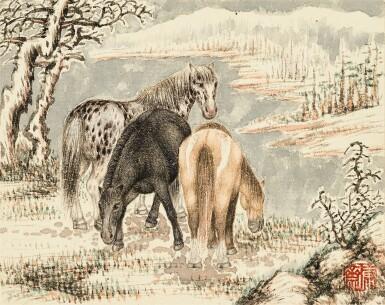 View 8. Thumbnail of Lot 3015. PU JIN; PU ZUO 溥伒、溥佐 | Landscapes and Horses 山水駿馬合璧冊.