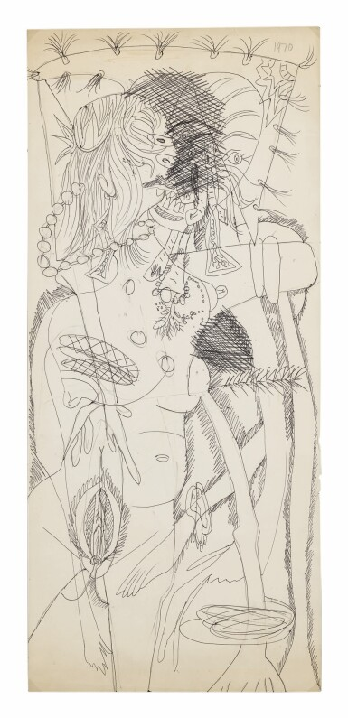 FRANCIS NEWTON SOUZA   UNTITLED (LADY WITH MONSTER)