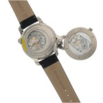 MICHEL JORDI | HERITAGE & TRADITION LIMITED EDITION SWIVELING WHITE GOLD SINGLE-BUTTON CHRONOGRAPH WRISTWATCH WITH DATE, MOON PHASES AND POWER-RESERVE INDICATION CIRCA 2005