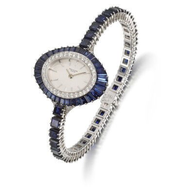 View 2. Thumbnail of Lot 319. PATEK PHILIPPE | REFERENCE 4020/1, WHITE GOLD, DIAMOND AND SAPPHIRE-SET BRACELET WATCH, MADE IN 1973.