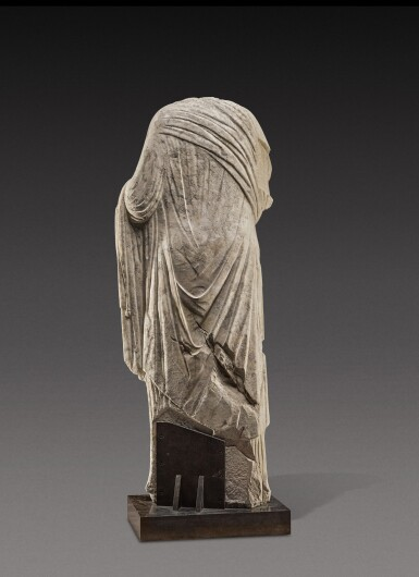 View 3. Thumbnail of Lot 70. A Roman Marble Portrait Statue of a Woman, circa 1st Century A.D..