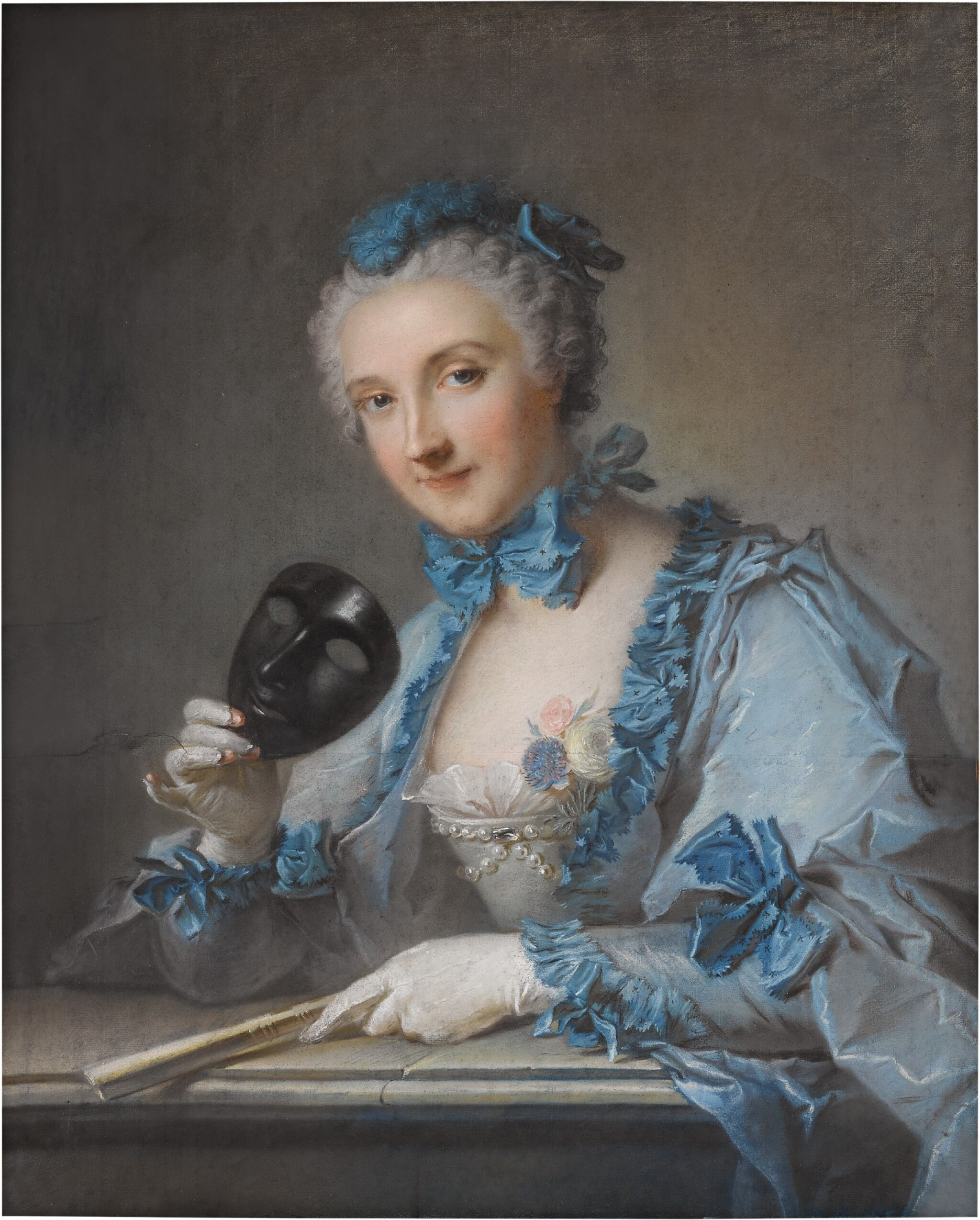 View full screen - View 1 of Lot 194. PORTRAIT OF MADAME ROYER, HALF-LENGTH, WITH A MASK AND FAN.