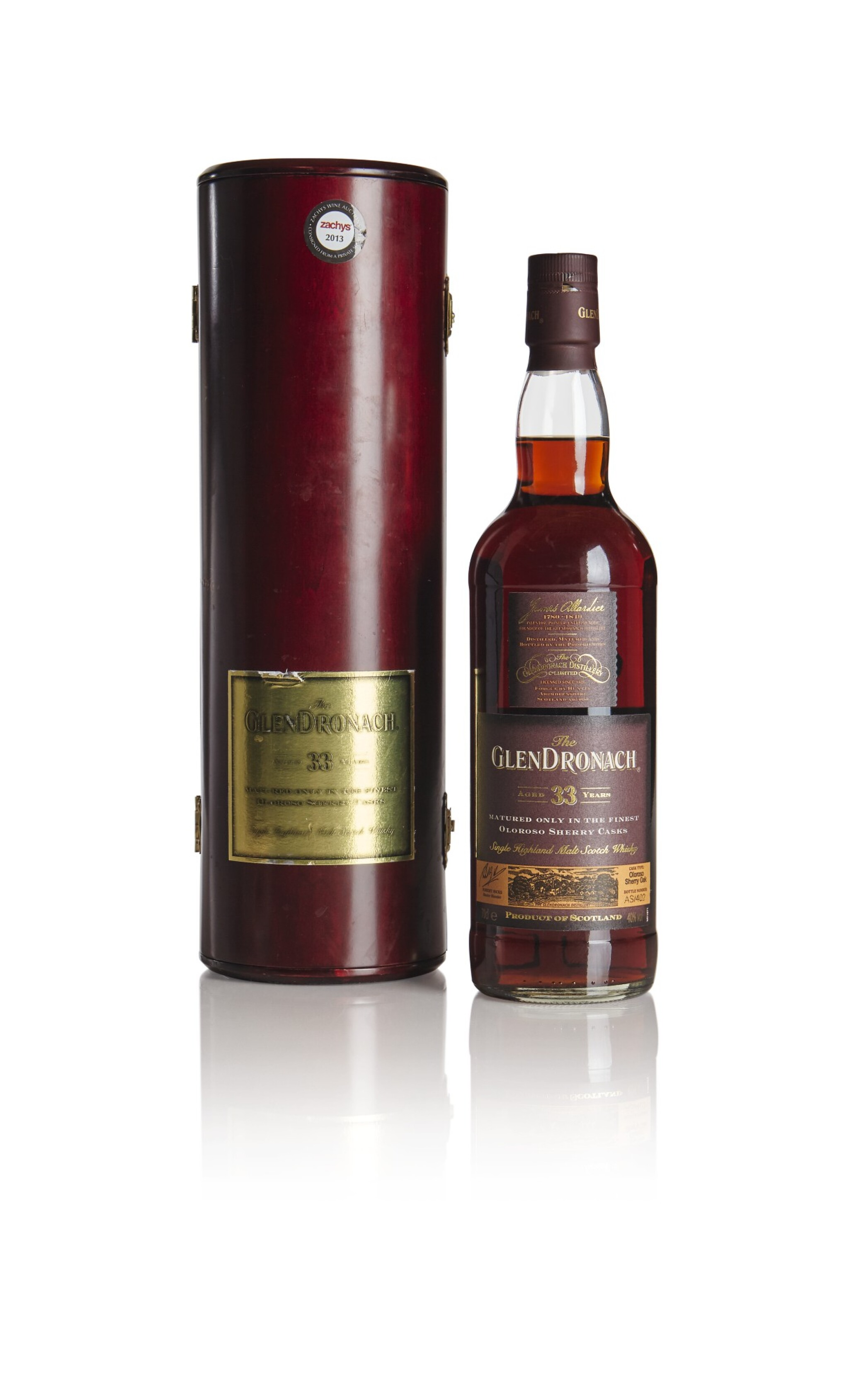 View full screen - View 1 of Lot 260. THE GLENDRONACH OLOROSO  SHERRY CASK 33 YEAR OLD 40.0 ABV NV .