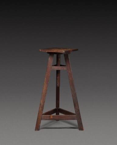 View 1. Thumbnail of Lot 181. A sculptor's oak tripod stand, probably French, 20th century.