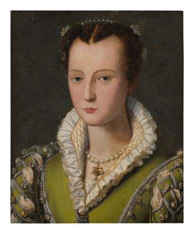 View 1. Thumbnail of Lot 510. CIRCLE OF ALESSANDRO ALLORI | PORTRAIT OF A LADY, SAID TO BE A MEDICI, BUST LENGTH, WEARING A GREEN DRESS AND PEARLED NECKLACE.