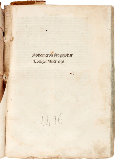 View 1. Thumbnail of Lot 2. Avenzohar | Liber teisir, Venice, 1496, limp vellum, and other works.