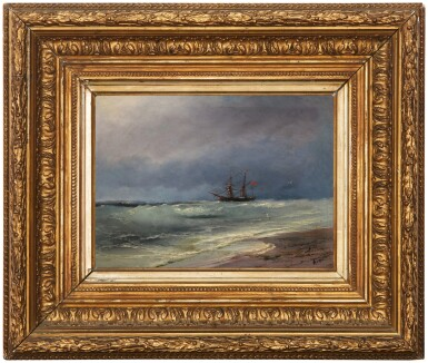 View 2. Thumbnail of Lot 1. IVAN KONSTANTINOVICH AIVAZOVSKY | SAILING SHIP ON A STORMY DAY.