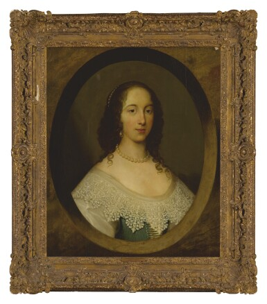 View 2. Thumbnail of Lot 582. ATTRIBUTED TO CORNELIUS JOHNSON | PORTRAIT OF A LADY, BUST LENGTH, IN A PAINTED OVAL.