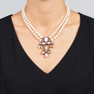 View 5. Thumbnail of Lot 11. COLLIER PERLES FINES, PERLES DE CULTURE ET DIAMANTS | NATURAL PEARL, CULTURED PEARL AND DIAMOND NECKLACE.