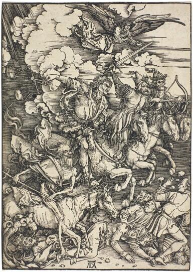 View 1. Thumbnail of Lot 21. ALBRECHT DÜRER  |  THE FOUR HORSEMEN OF THE APOCALYPSE (B. 64; M., HOLL. 167).
