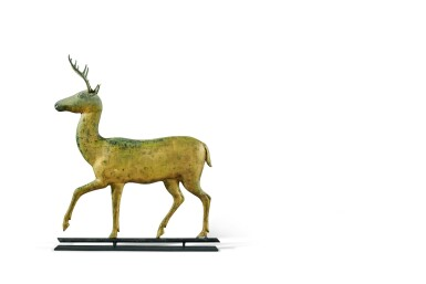 View 3. Thumbnail of Lot 1443. VERY FINE AND RARE MOLDED AND CAST FULL-BODIED GILT COPPER STAG WEATHERVANE, ATTRIBUTED TO A.L. JEWELL & CO., WALTHAM, MASSACHUSETTS, CIRCA 1870 .