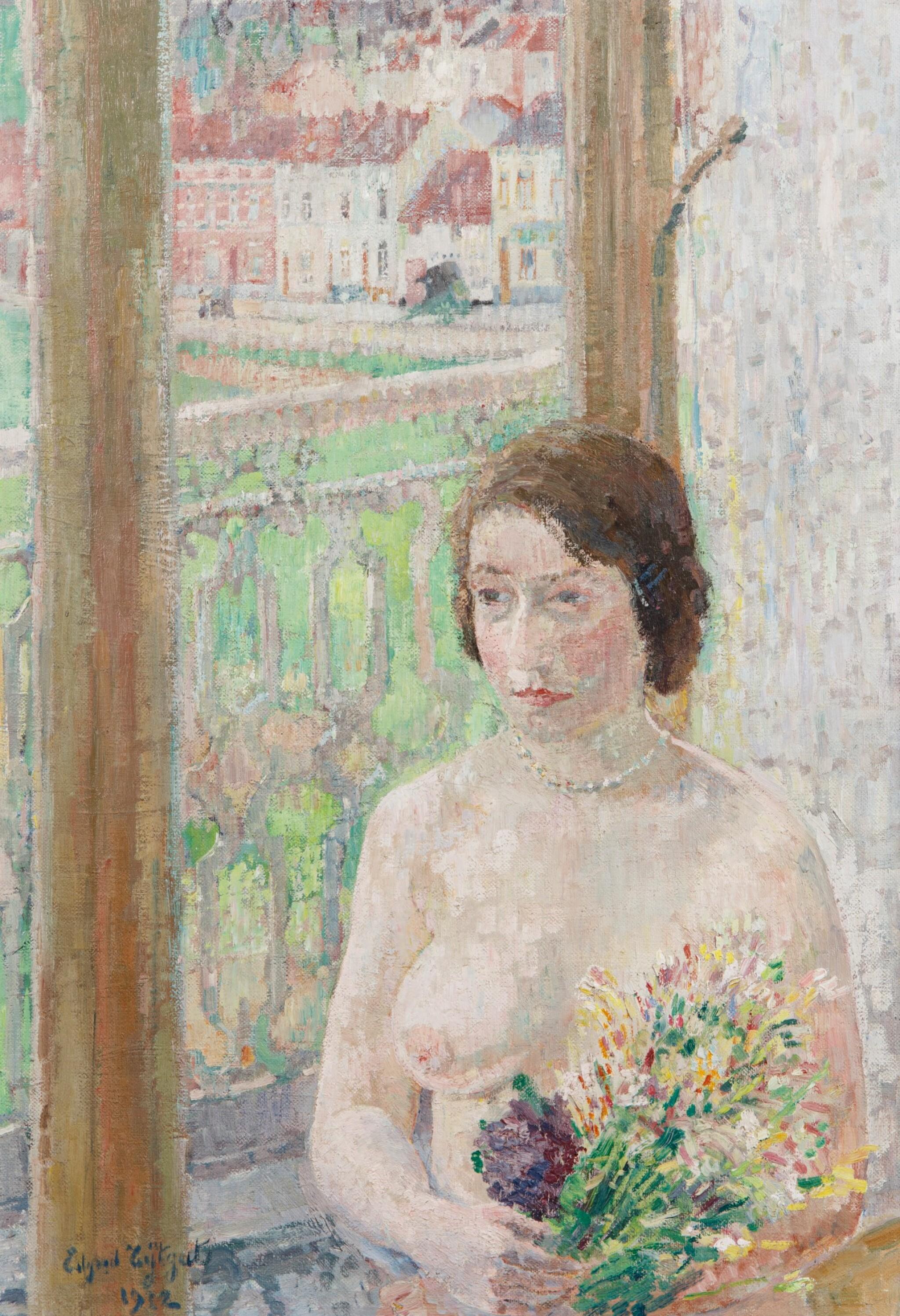 View 1 of Lot 91. Jeune fille aux fleurs.