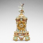A highly important documentary and dated Meissen mantel clock case, Dated 1727, the gilt-bronze mount probably German, mid-18th century, the movement signed Barrey à Paris, Circa 1700