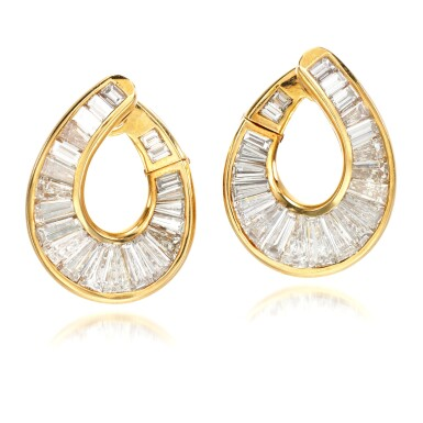 View 1. Thumbnail of Lot 70. Pair of diamond earrings.