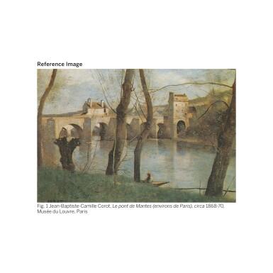 View 2. Thumbnail of Lot 55. JEAN-BAPTISTE-CAMILLE COROT | MANTES- DEUX ARCHES DU PONT AVEC UN CAVALIER.