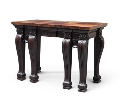 View 2. Thumbnail of Lot 64. A George II carved mahogany side table, circa 1730 and later, in the manner of William Kent.