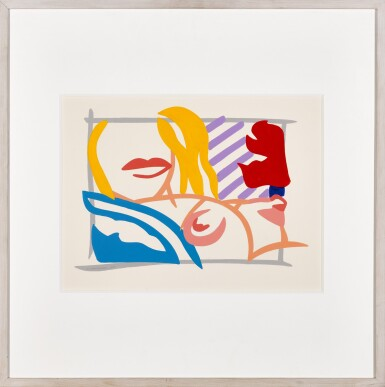 View 2. Thumbnail of Lot 233. TOM WESSELMANN | BEDROOM BLONDE WITH LAVENDER WALLPAPER.
