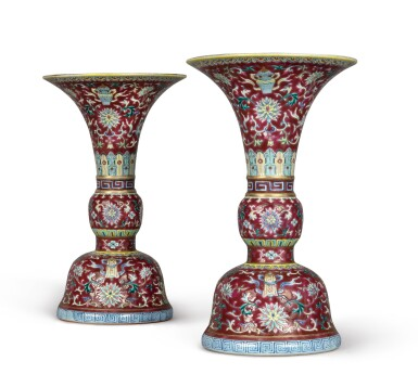 View 5. Thumbnail of Lot 539.  A PAIR OF RUBY-GROUND FAMILLE-ROSE 'BAJIXIANG' ALTAR VASES (GU),  QIANLONG SEAL MARKS AND PERIOD .