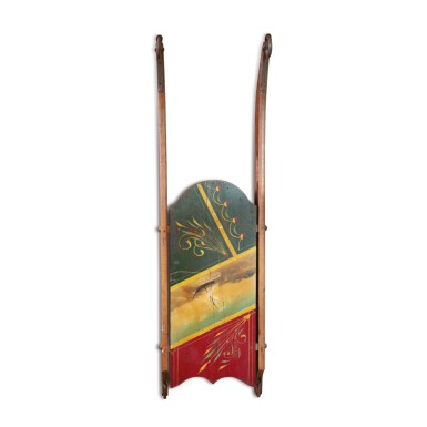 VERY FINE CHILD'S POLYCHROME PAINT-DECORATED MARINE SLED, LATE 19TH CENTURY