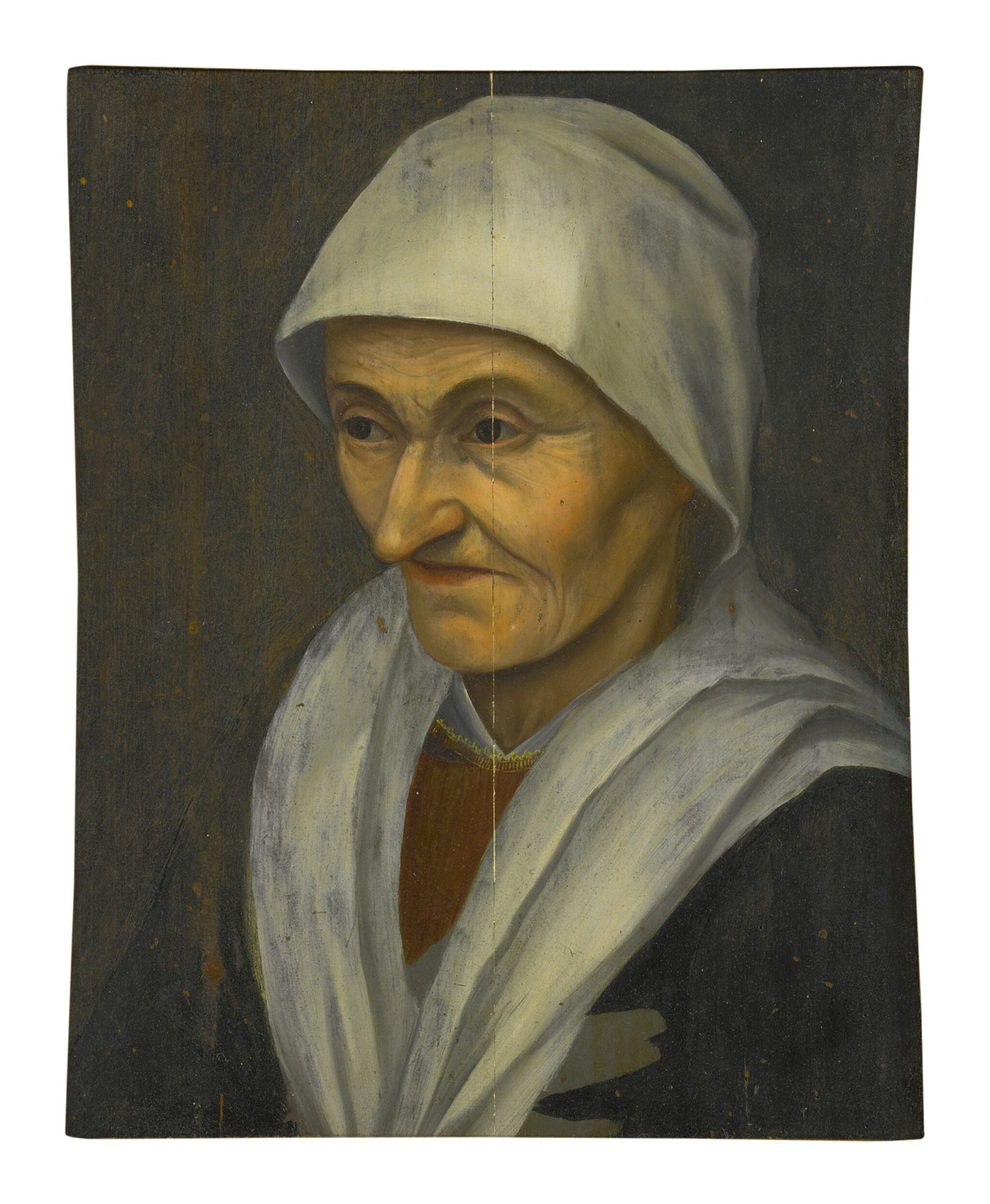 View full screen - View 1 of Lot 12. Sold Without Reserve | MANNER OF PIETER BRUEGEL THE ELDER | PORTRAIT OF A PEASANT WOMAN, HALF LENGTH, FACING LEFT.
