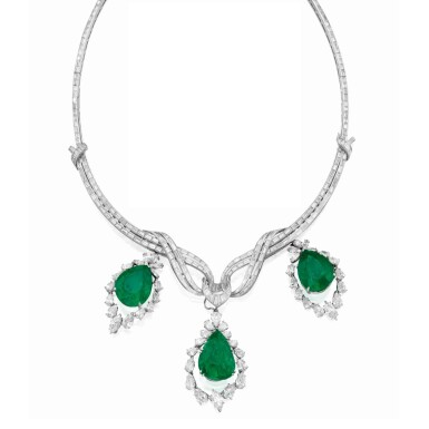 View 1. Thumbnail of Lot 164. Emerald and Diamond Pendant-Necklace [祖母綠配鑽石吊墜項鏈].