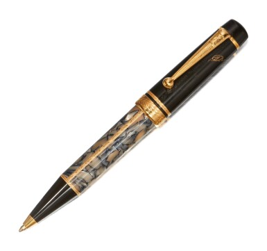 MONTBLANC | A BLACK AND GREY MARBLED RESIN BALLPOINT PEN, CIRCA 1996